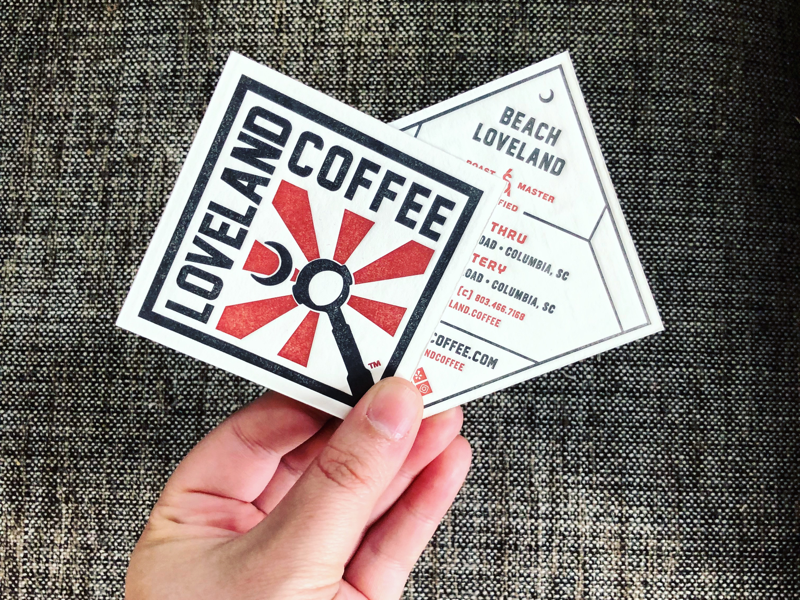 Loveland Coffee Letterpressed Business Cards identity business card letterpress