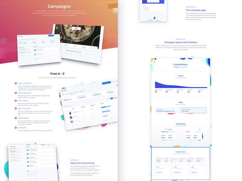 Collabs - Campaigns app design website