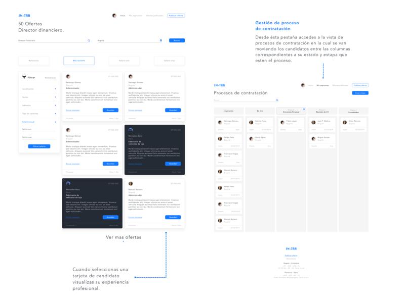 Plataforma de reclutamiento INTRA dashboard diseño appmovil web aplicación ilustración ux ui