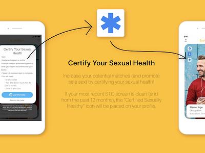 Bumble App Certify Health Feature Advertisement product design dating app illustrator ui design ux design