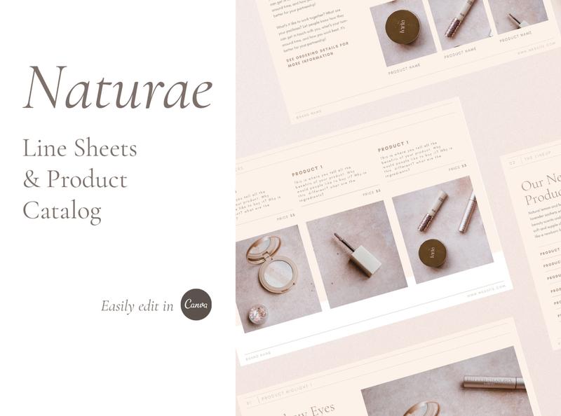 Naturae Wholesale Catalog wholesale catalog canva template canva beauty brand natural modern minimalist minimal line sheet template wholesale template wholesale beauty indesign template feminine