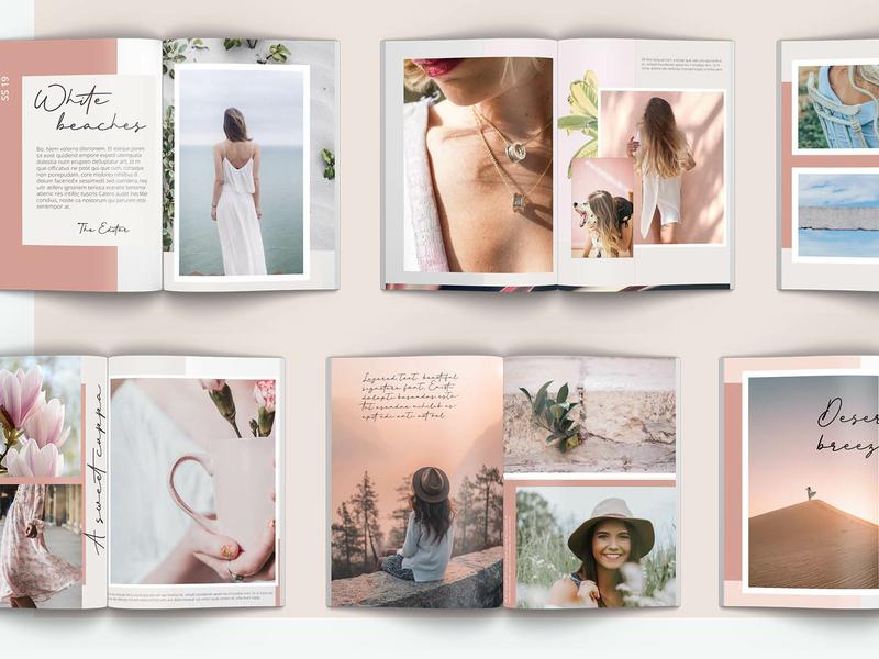 Layered Lookbook Interior 1 typography pink beige design feminine feminine design layered indesign indesign template lookbook