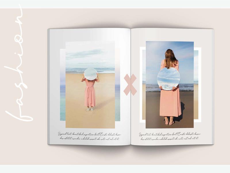 Layered Lookbook Interior 2 feminine beige look book indesign typography pink lookbook layered indesign template feminine design
