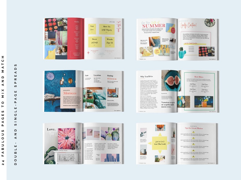 Lifestyle Squared Internal Pages 1 fun colorful colourful feminine magazine template content creation blog lifestyle lifestyle blog magazine indesign template