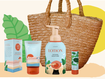 Colorful Packaging Design - COASTE lotion sunscreen skin care summer troipical trendy tropical illustrations colorful freelance designer illustrations packaging design packagingdesign packaging