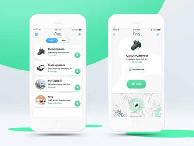 App design for bluetooth tracker app ios main screen list tracker safety design ui ux clear elegant