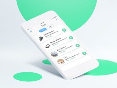 App design for bluetooth tracker elegant clear ux ui design safety tracker list main screen ios app