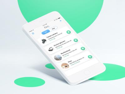 App design for bluetooth tracker elegant clear ux ui design safety tracker list main screen ios app