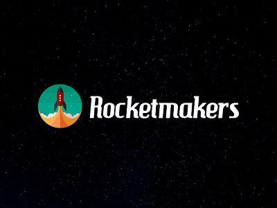 Rocketmakers Logo Redesign space rocket flat illustration flat design logo redesign logo