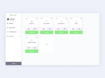 Cosmos UI green cards card design flat design ui design