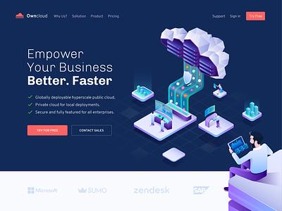 Owncloud - Smart Cloud Computing business cloud landing page design web isomatric illustration hero design