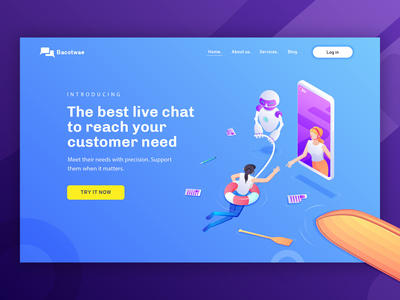 Live Chat Software - Hero Illustration concept landing page hero design illustration isomatric software apps live chat