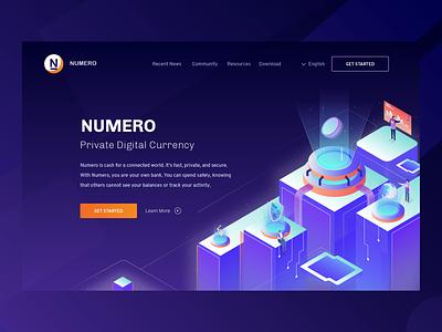 Hero Illustration For Numero Private Digital Currency ui apps ico business vector crypto hero design illustration isomatric