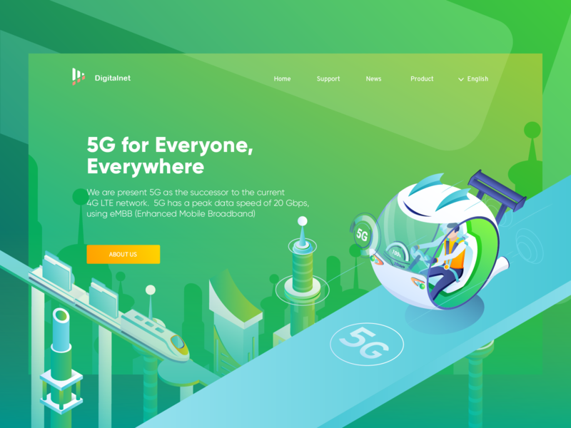 Digitalnet 5G For Everyone,  Everywhere. webdesign header app web technology adobe illustrator landing page network illustration isometric 3d