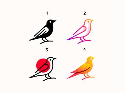 Several styles of american robin bird animal american robin illustration character icon logos pictogram monogram logo bird
