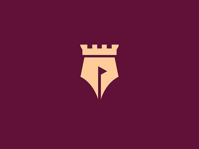 castle pen negative-space smart-logo pictogram monoline logogram monogram icon logos logo pen castle