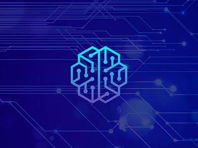 brain + circuit smart-logo technologies monoline monogram icon logos logo tech technology circuit brain