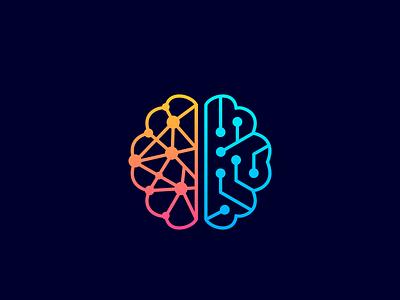 brain + circuit v.2 smart-logo technologies monoline monogram icon logos logo tech technology circuit brain