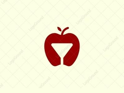 Apple Glass Logo smart-logo illustration color monoline logogram illustrator designs design character pictogram best monogram logos icon logo fruits negative space dual meaning glass apple