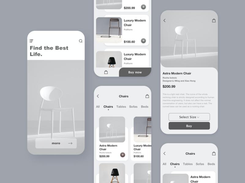 A furniture sales App Design exercise. design dayu app ui ios