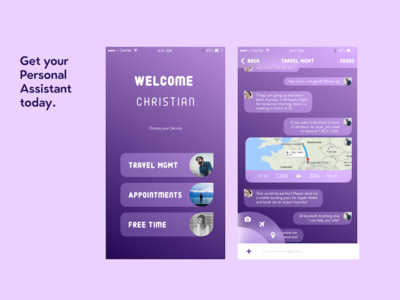 DailyUI #013 Direct Messaging Personal Assistant  management messaging purple assistant personal app ui daily