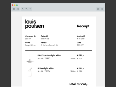 DailyUI #017 Email Receipt Louis Poulsen light pendant minimalistic typography white black poulsen louis receipt email ui daily