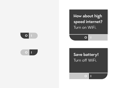 DailyUI #015 & #016 On/Off Switch & PopUp Overlay overlay popup turn off turn on wifi minimal white black grey switch ui daily