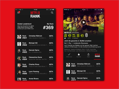 DailyUI #019 Leaderbord Netflix Rank white black ui daily score rank red leaderboard netflix