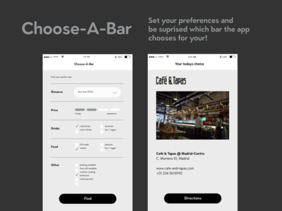 DailyUI #022 Search — Choose-A-Bar App directions find choose mix design interface app search 22 ui daily