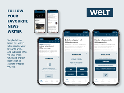 DailyUI #026 Subscribe Idea for WELT News App sms push whatsapp email subscribtion follow app news subscribe dailyui ui daily