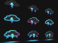 Storm Cloud icons set