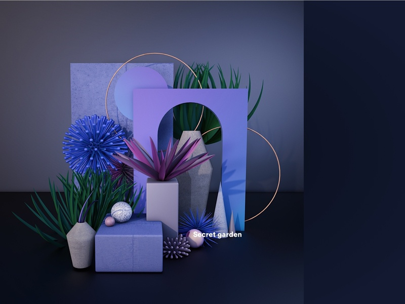 secret garden-3D Composition organic geometry textures plants garden botanical c4d render abstract illustration material 3dart