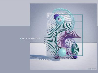 Secret Garden pastel minimal geometry layout composition inspiration design colors ui adobe cinema4d abstract 3dart 3d