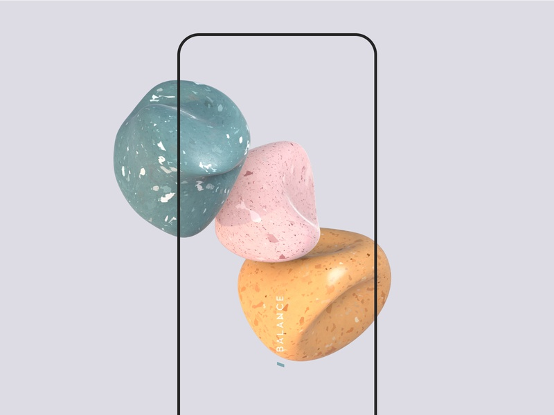 Balance touch experience colorful pastle minimal texture cinema4d artdigital balance motion mobile styleframe abstract material 3dart 3d