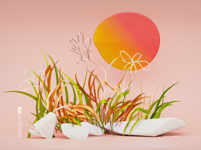 Moods in VR- Here comes the sun generative gravitysketch vr ar 3dart happy colorful emotional design spring illustration web branding gradient render c4d ui concept abstract 3d material
