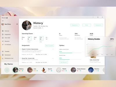 Student Diary ux ui student school material fluent diary dashboard concept collaboration blur app