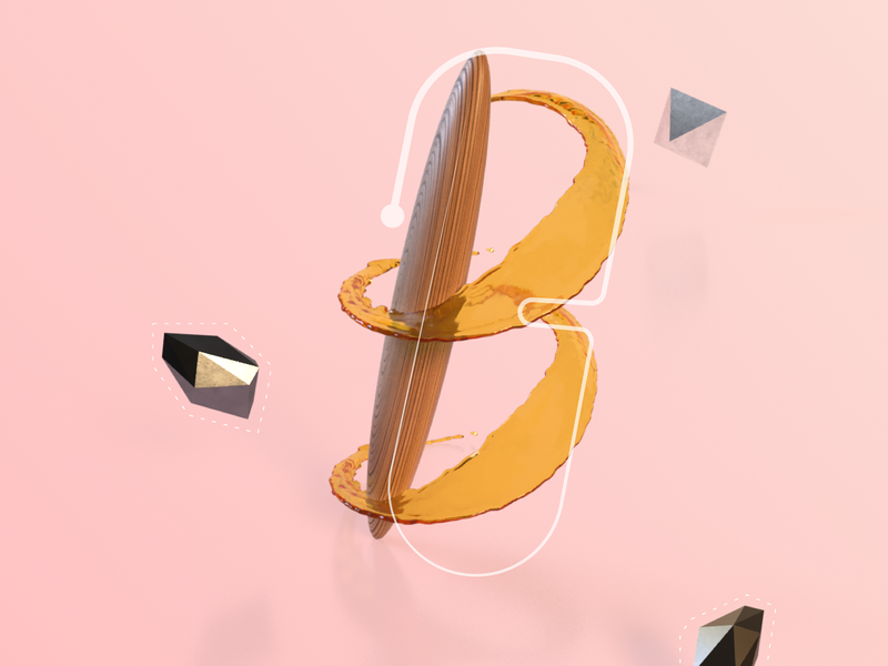 Alpha B adobedimension 3dart 3d illustration typography art 3d art