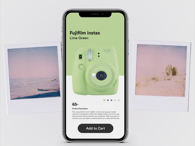Random UI Challenge swipes minimal pastels delightful purchase polaroid camera product concept card ui