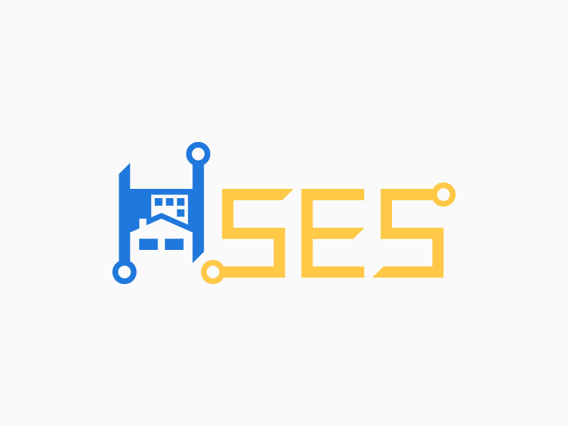 Specialized Electronic Systems negative space low voltage electronic nodes node residential building house ses logo