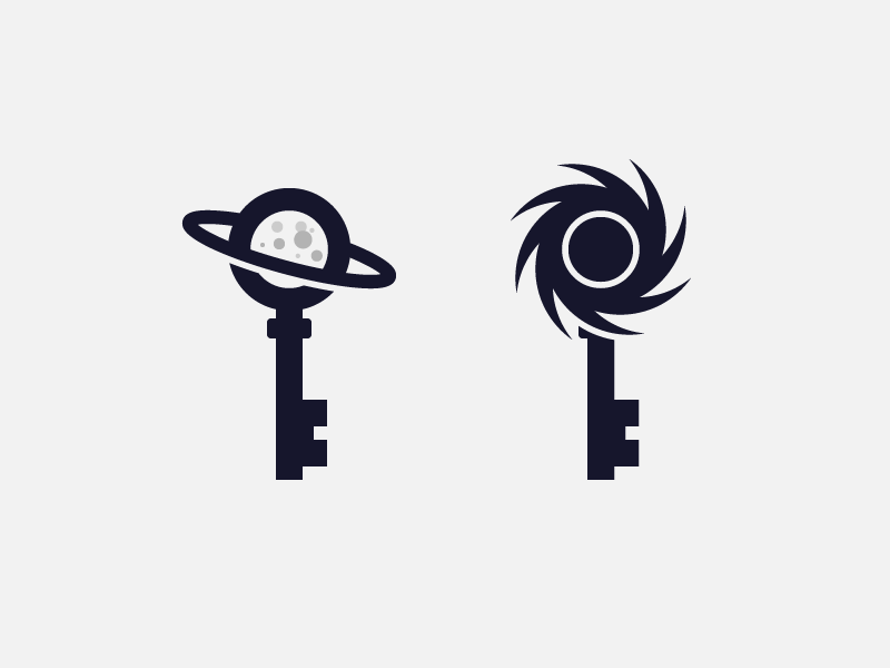 Space Keys for sale negative space planet ringed craters moon hole black exploration logo space keys key