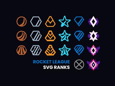 Rocket League SVG Ranks svg vector free badge badges freebie champion diamond platinum gold silver bronze rank ranks video game rocket league