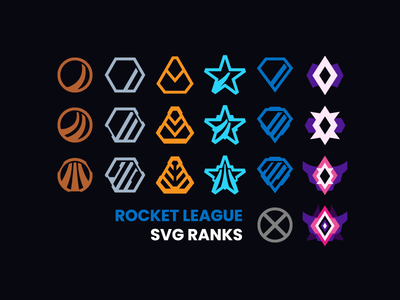Rocket League SVG Ranks svg vector free badge badges freebie champion diamond platinum gold silver bronze rank ranks video game rocket league