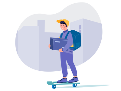 delivery on skateboard navigation delivery service delivery app delivery skate lottiefiles lottie character animation app json webflow lottie animation animation