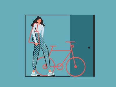 Going woman girl bicycle