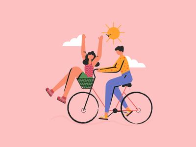 Trust happy sun bicycle couple