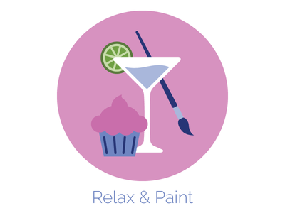 Relax & Paint Icon cupcake wine paint party web design icon