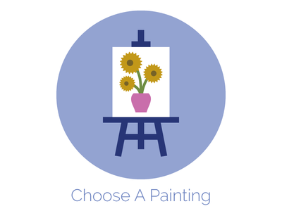 Choose A Painting Icon sunflowers easel painting paint party web design icon