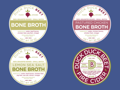 Food Labels for Duck Duck Beet fire cider bone broth branding labels food
