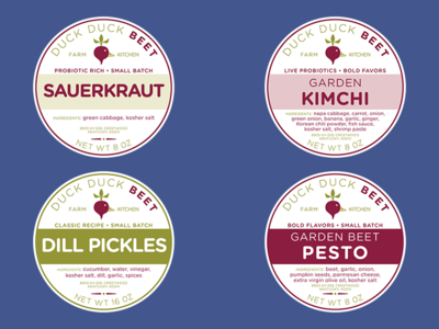 Food Labels for Duck Duck Beet cont. dill pickles branding pesto sauerkraut kimchi labels food