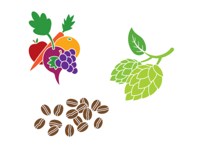 Food Icons coffee beans hops fruits vegetables